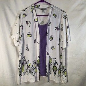 Dressbarn Large Blouse Purple White 1318